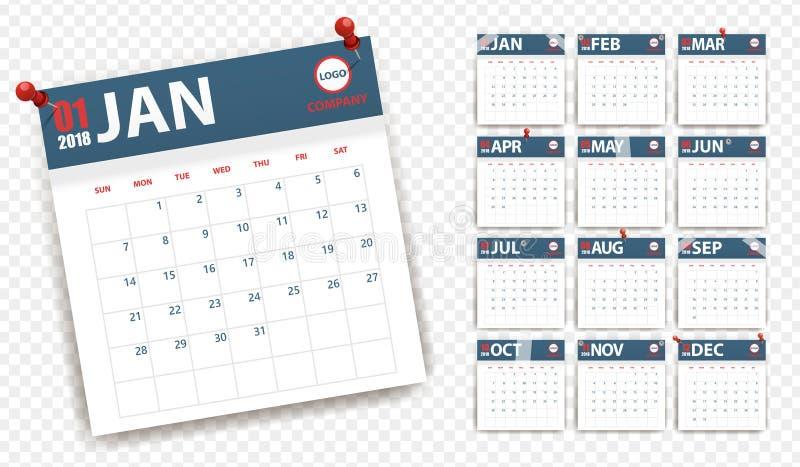 de kalender van 2018 in document stickers met spelden en Schotse stijl Blauw en Rood Gebeurtenisontwerper vector illustratie