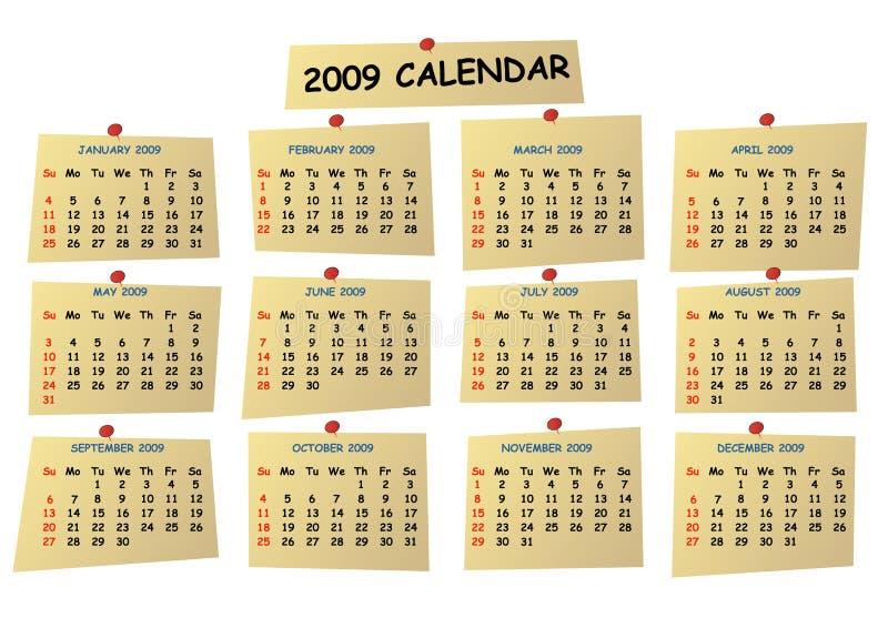 De kalender van Editable 2009 stock illustratie