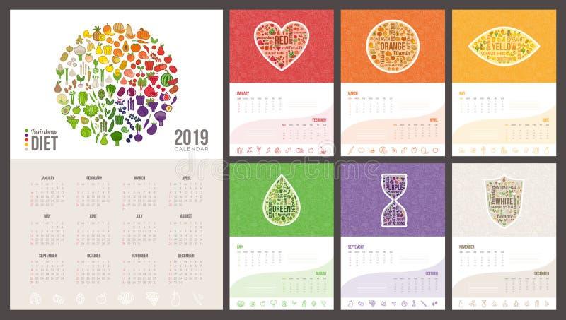 De kalender 2019 van het regenboogdieet vector illustratie