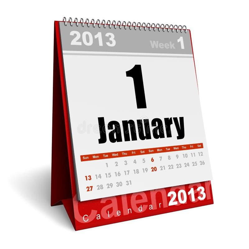 De kalender van januari 2013 royalty-vrije illustratie