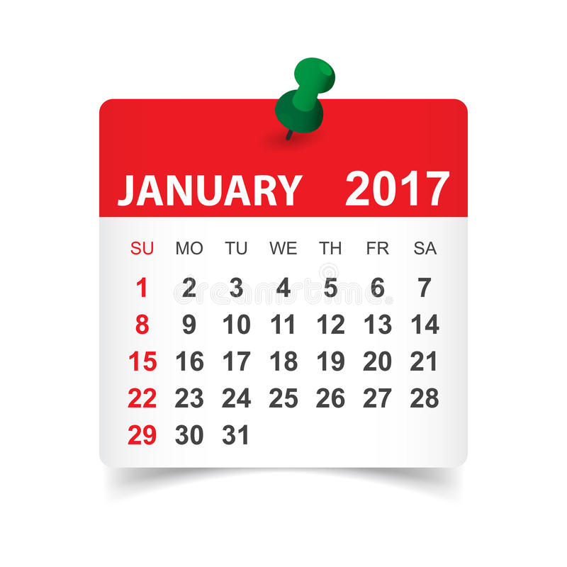 De kalender van januari 2017 vector illustratie