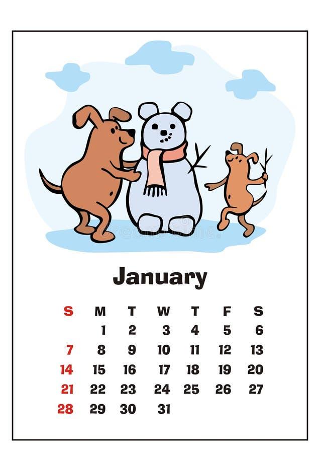 De kalender van januari 2018 vector illustratie