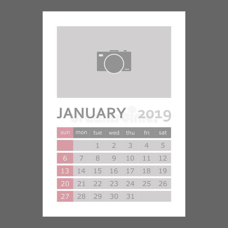 De kalender van januari 2019 De week begint Zondag Lagen voor e worden gegroepeerd dat vector illustratie