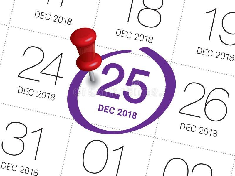 De kalender van de Kerstmisdag op agenda stock illustratie