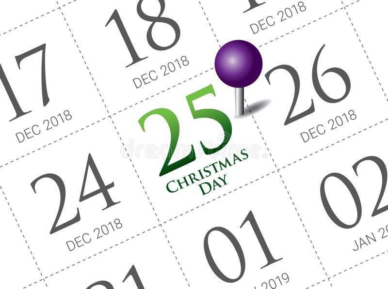 De kalender van de Kerstmisdag op agenda royalty-vrije illustratie