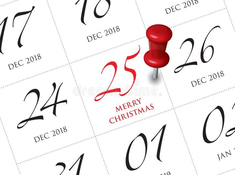 De kalender van de Kerstmisdag op agenda vector illustratie