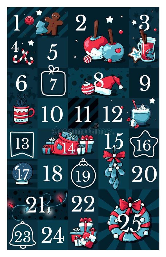 De kalender van de Kerstmiskomst, leuke hand getrokken krabbelstijl Vijfentwintig voor het drukken geschikte markeringeninzamelin vector illustratie