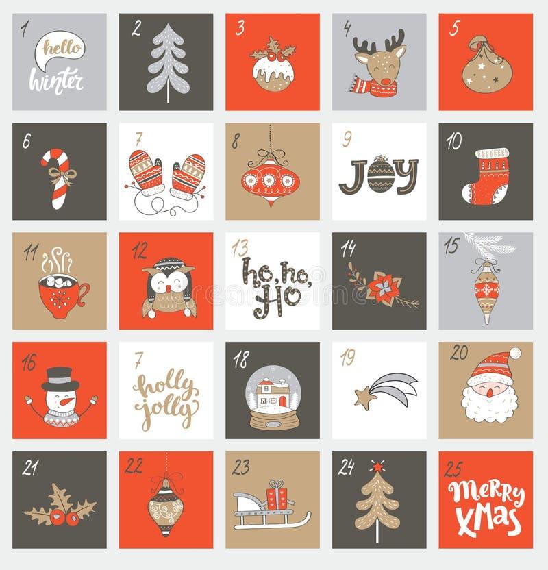 De kalender van de Kerstmiskomst met symbolen vector illustratie