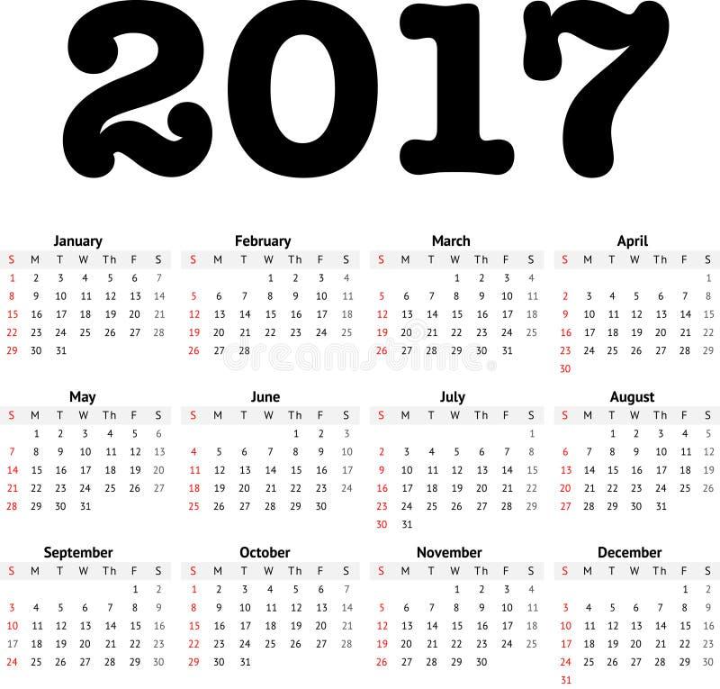 de kalender van 2017 in minimalistic stijl vector illustratie