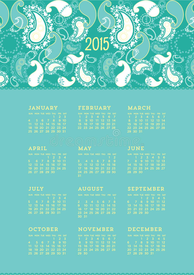 2015 de Kalender van Paisley royalty-vrije illustratie