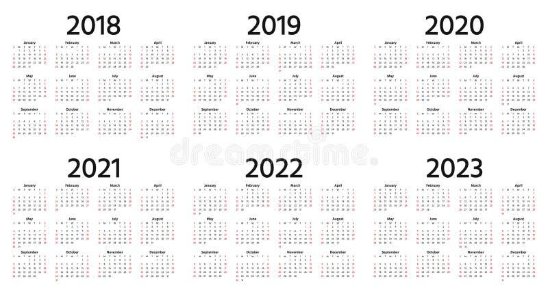 2018, 2019, de kalender van 2020 Vector illustratie Malplaatjejaar pl vector illustratie