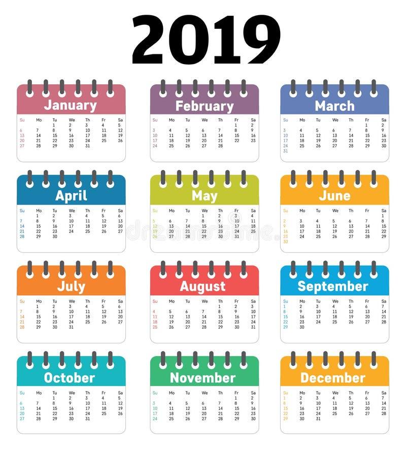 de kalender van 2019 Vectorkalenderontwerpsjabloon royalty-vrije stock foto