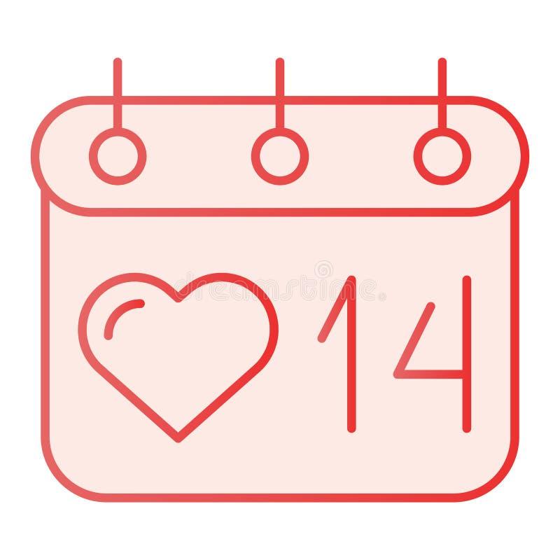 De kalender vlak pictogram van de valentijnskaartendag 14 de roze pictogrammen van februari in in vlakke stijl Het ontwerp van de vector illustratie