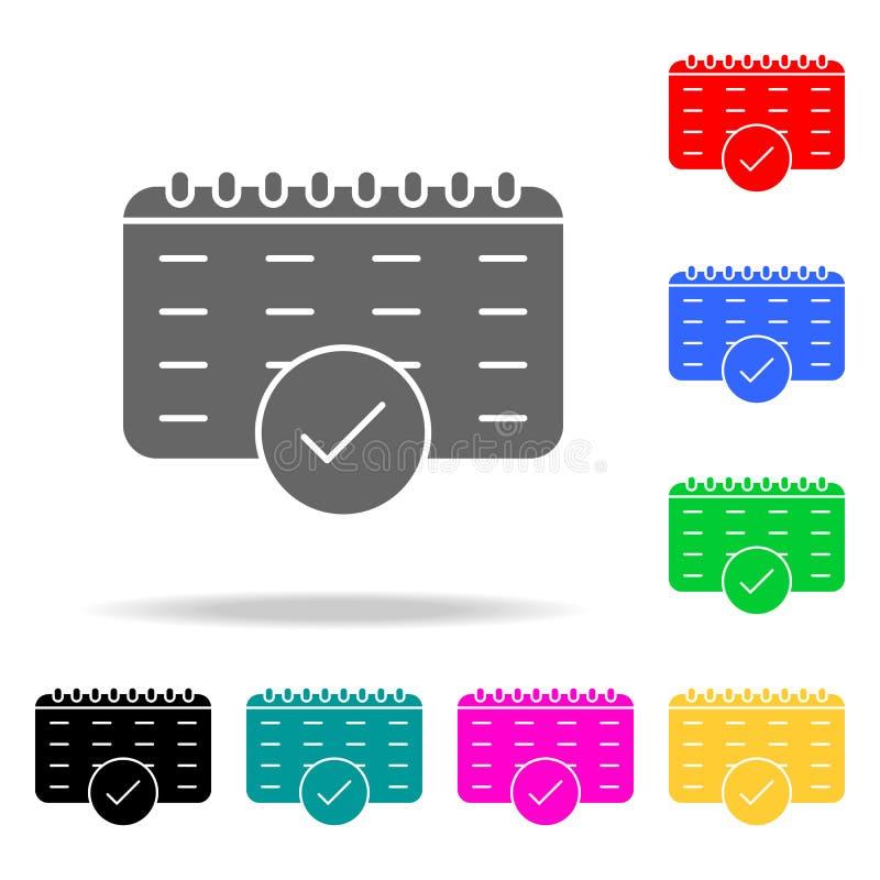 de kalenderdatum kiest o.k. vinkjepictogram goedkeurt Elementen in multi gekleurde pictogrammen voor mobiel concept en Web apps P royalty-vrije illustratie