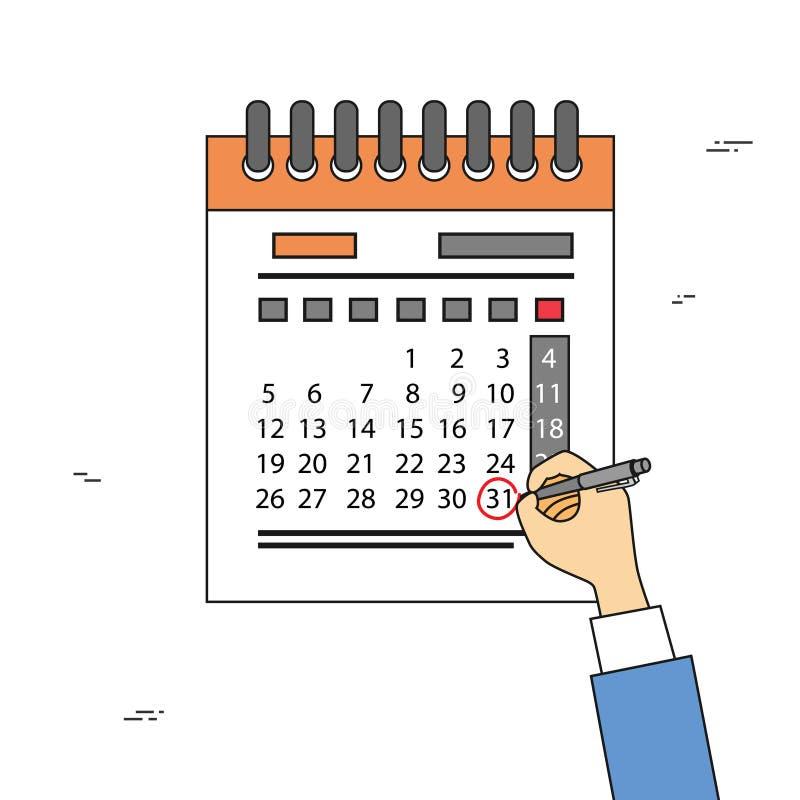 De kalenderhand trekt Pen Red Circle Date Last-de Uiterste termijn van de Dagmaand vector illustratie