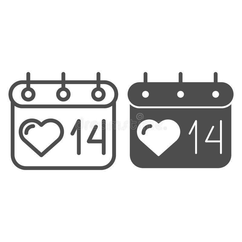 De kalenderlijn en glyph pictogram van de valentijnskaartendag 14 de vectordieillustratie van februari op wit wordt geïsoleerd He royalty-vrije illustratie