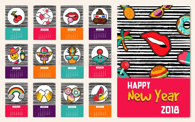 De kalendermalplaatje van het nieuwjaar 2018 grappig flard iconsset vector illustratie