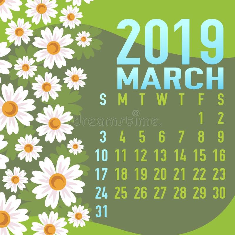 De kalendermalplaatje van maart 2019 met samenvatting vector illustratie