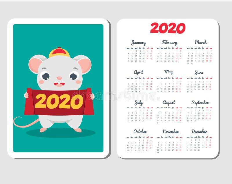 de kalendermalplaatje van 2020 met beeldverhaalmuis Chinees nieuw jaarontwerp met grappig rattenkarakter stock illustratie