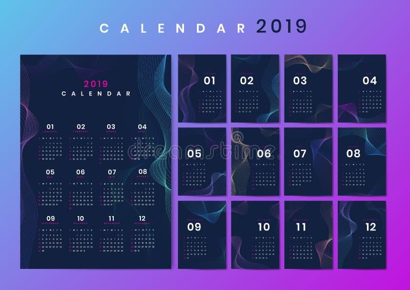 De kalendermodel van het contourontwerp royalty-vrije illustratie