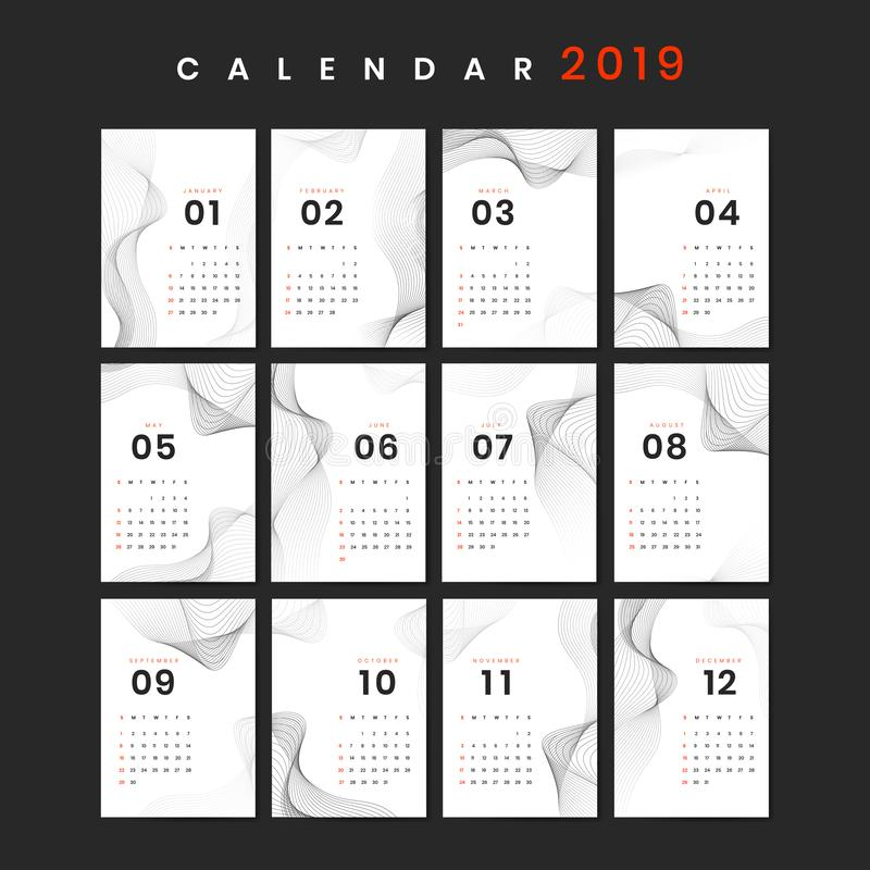 De kalendermodel van het contourontwerp stock illustratie