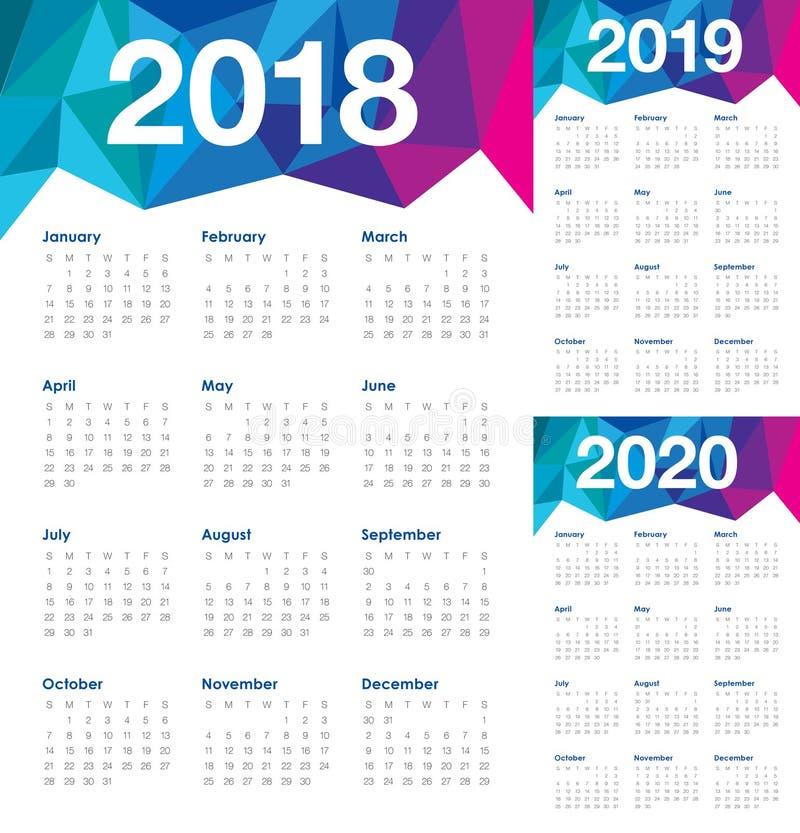 De kalendervector van 2020 van jaar 2018 2019 stock illustratie