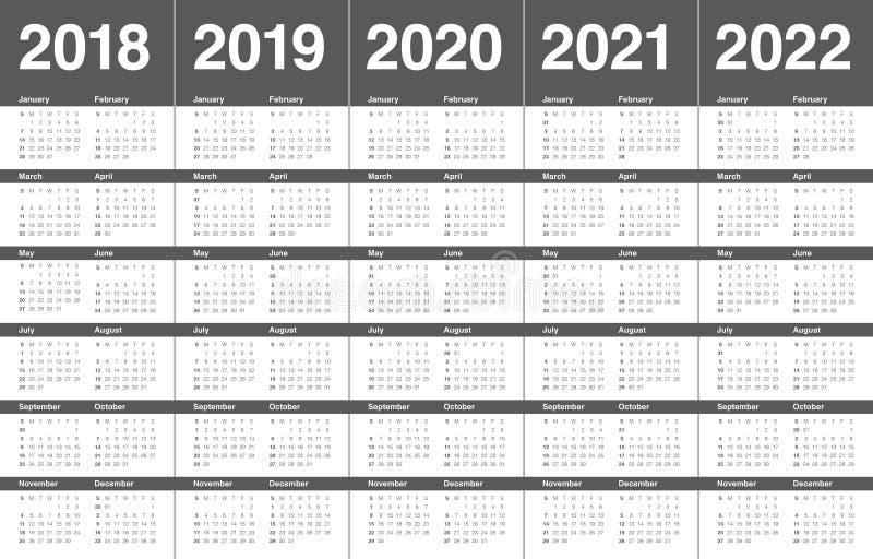 De kalendervector van 2022 van 2021 van 2020 van jaar 2018 2019 stock foto's