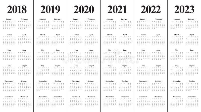 De kalendervector van 2023 van 2022 van 2021 van 2020 van jaar 2018 2019 royalty-vrije stock foto