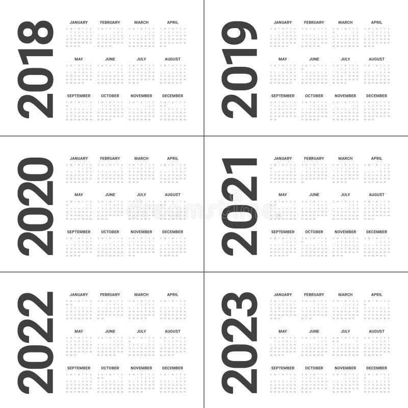 De kalendervector van 2023 van 2022 van 2021 van 2020 van jaar 2018 2019 royalty-vrije illustratie