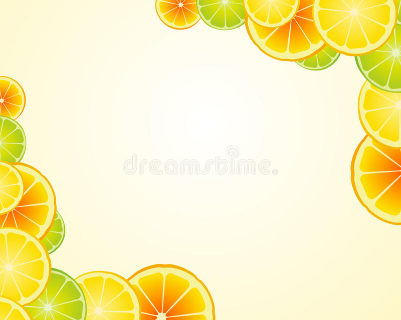 De kalk oranje frame van de citroen achtergrond royalty-vrije illustratie