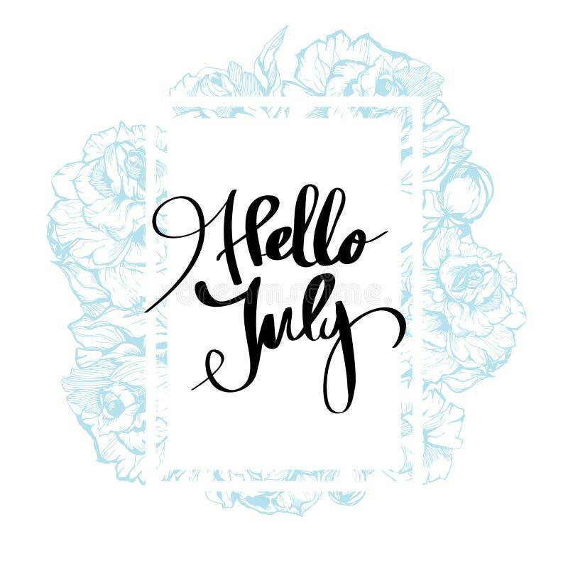 De Kalligrafie van Hello Juli voor ontwerp royalty-vrije illustratie