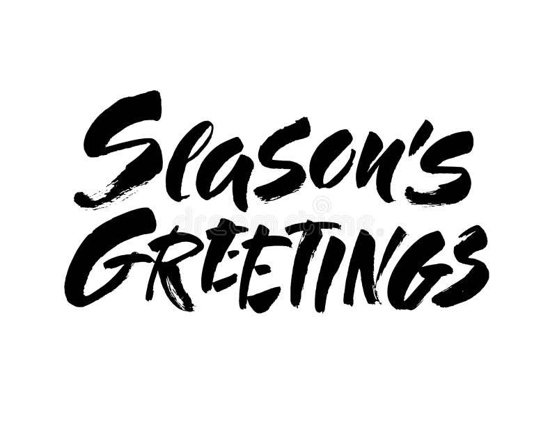 De kalligrafie van letters voorziende tekst van seizoenengroeten op witte achtergrond met uitstekende document textuur Retro groe vector illustratie