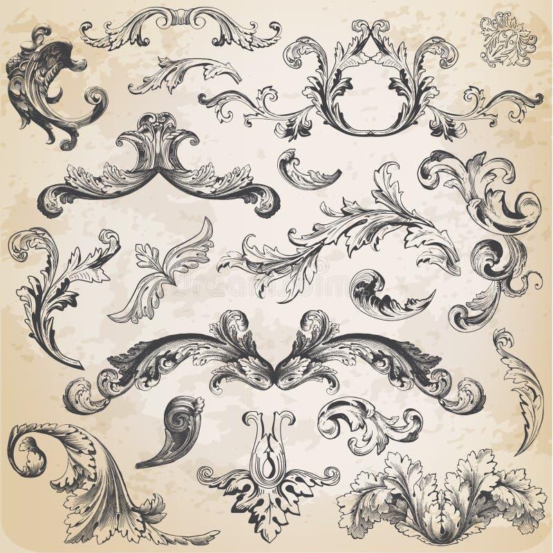 De kalligrafische Elementen van het Ontwerp stock illustratie