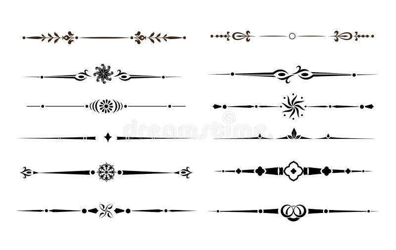 De kalligrafische Elementen, de Verdelers en de Streepjes van het Ontwerp stock illustratie