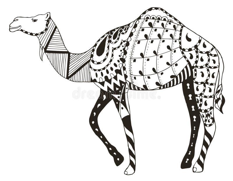 De kameel zentangle stileerde, vector, illustratie, potlood uit de vrije hand royalty-vrije illustratie
