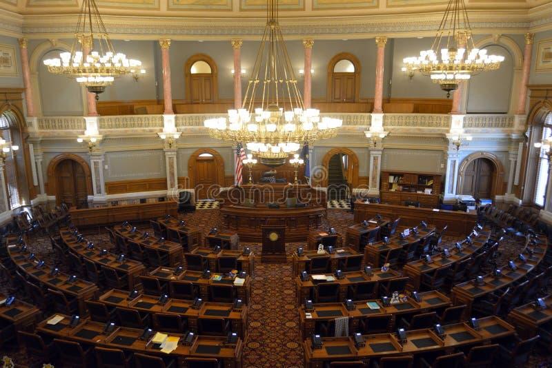 De Kamer van het het Capitoolhuis van afgevaardigden van de Staat van Kansas stock foto's
