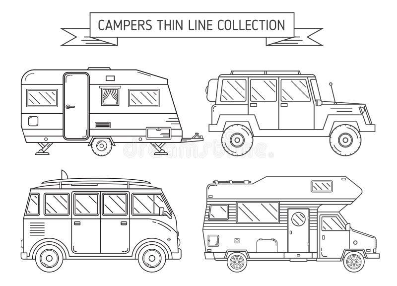 De Kampeerauto's en de Aanhangwagen van rv in Dun Lijnart. vector illustratie