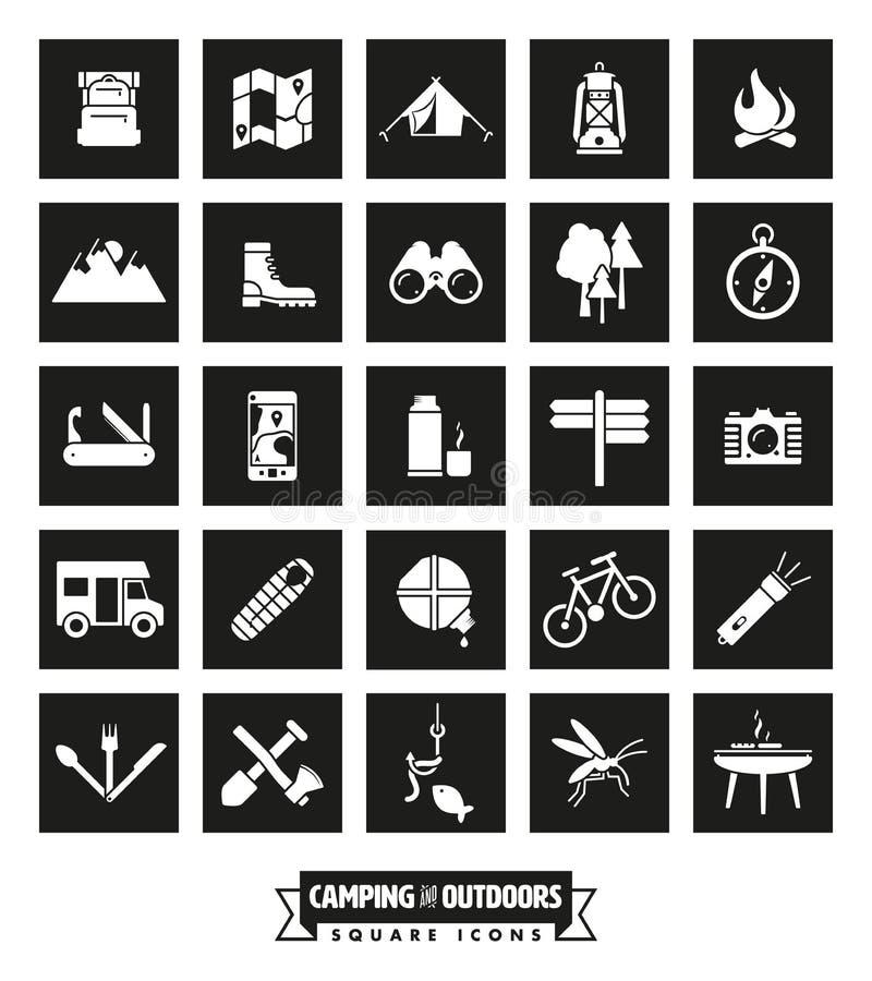 De kamperende en Openluchtreeks van het Achtervolgingen Vierkante Pictogram royalty-vrije illustratie