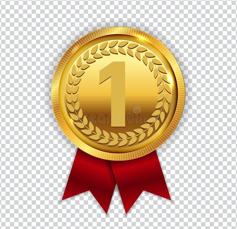 De kampioen Art Golden Medal met het Rode Pictogram van Lintl ondertekent Eerste Plac vector illustratie