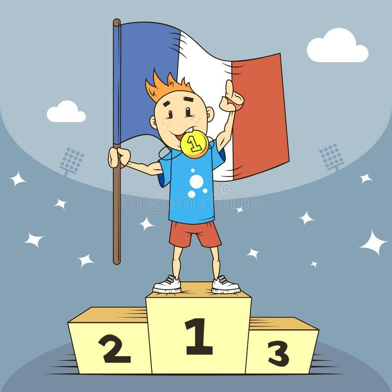 De kampioen van de beeldverhaalillustratie van Frankrijk in de eerste plaats van het podium met een vlag stock illustratie