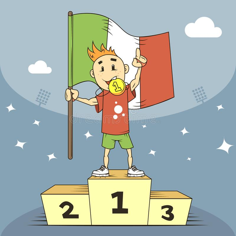 De kampioen van de beeldverhaalillustratie van Italië in de eerste plaats van het podium met in hand vlag stock illustratie