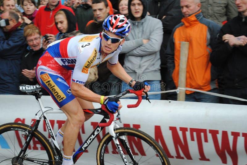 De kampioen van Czec cyclocross in actie stock fotografie
