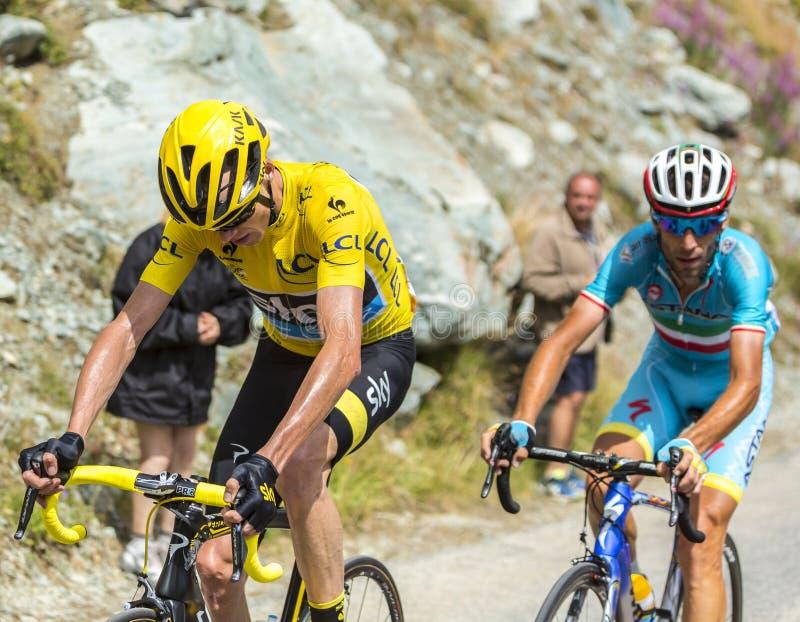 De Kampioenen in de Bergen - Ronde van Frankrijk 2015 stock foto