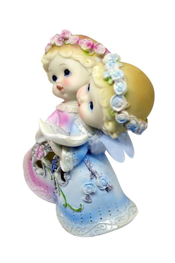 De kandelaar van het porseleinbeeldje - de engelenkinderen zingen royalty-vrije stock fotografie