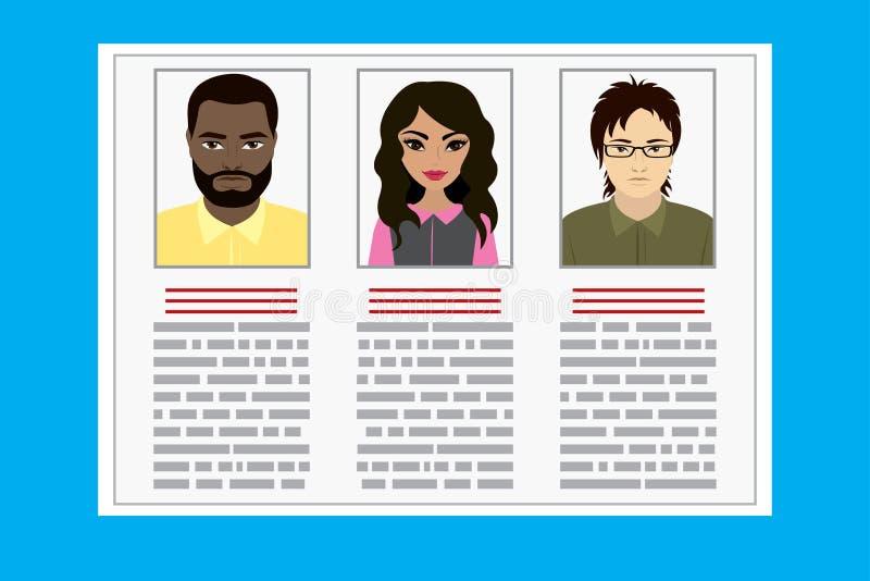 De Kandidaat Job Position van de curriculum vitaerekrutering stock illustratie