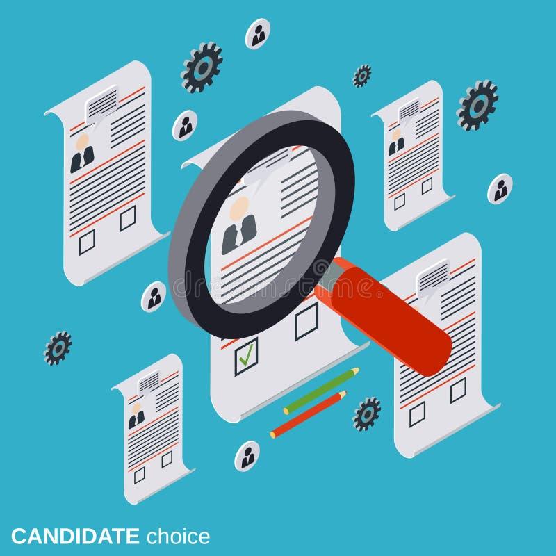 De kandidaatkeus, hervat analyse, rekrutering, personeelsbeheer, het vectorconcept van het personeelsonderzoek vector illustratie