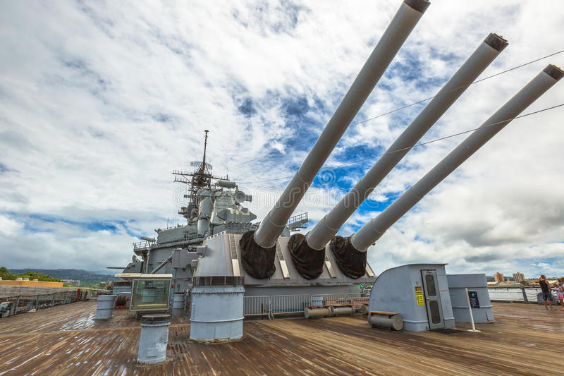 De kanonnen van USS Missouri royalty-vrije stock foto's