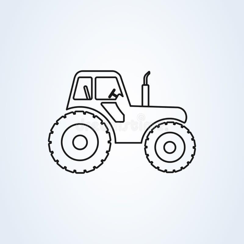 De kant van de landbouwbedrijftractor op de lijnart. van de meningsillustratie Vector landbouwtrekker stock illustratie