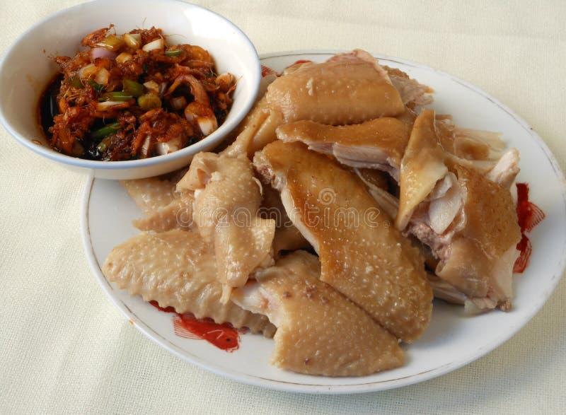 De Kantonese kip van de keuken witte besnoeiing met saus royalty-vrije stock foto's