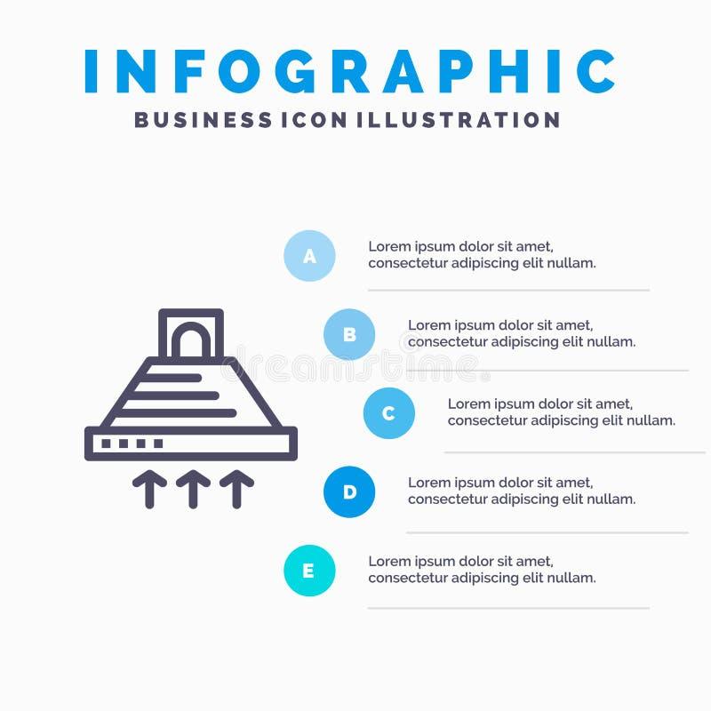 De kap, het Koken, Keuken, Uitlaat, rookt Blauw Infographics-Malplaatje 5 Stappen Het vectormalplaatje van het lijnpictogram vector illustratie